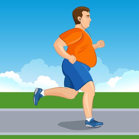 Illustratie van een vet cartoon man joggen, gewichtsverlies concept, cardio-training, gezondheid bewuste begrip lopende mens, voor en na