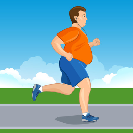 Ilustración de un hombre correr dibujos animados de grasa, el concepto de pérdida de peso, entrenamiento cardiovascular, el concepto de salud consciente hombre corriente, antes y después