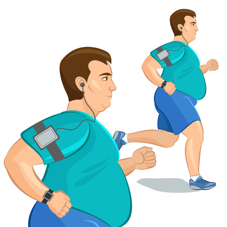 fat person: Jogging fat man, loss weight cardio training with smart device. Vector illustration