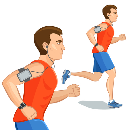 training device: Jogging sporty man, loss weight cardio training with smart device. Vector illustration
