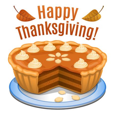 calabaza caricatura: Tarjeta feliz de la acci�n de gracias, cartel, de fondo con pastel de calabaza y calabaza naranja. Ilustraci�n vectorial