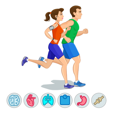 feet care: Illustration of a runners - couple running, health conscious concept. Sporty woman and man jogging