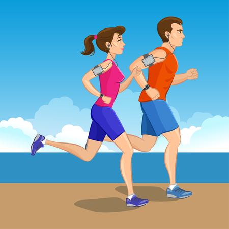 conscious: Illustration of a runners - couple running, health conscious concept. Sporty woman and man jogging