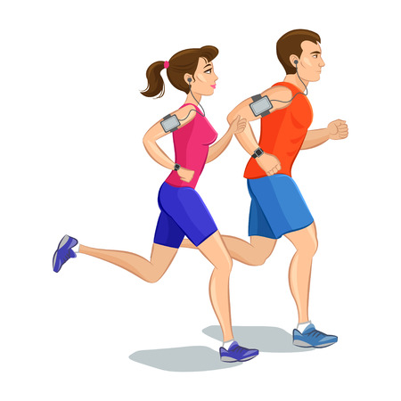 bilinçli: Illustration of a runners - couple running, health conscious concept. Sporty woman and man jogging