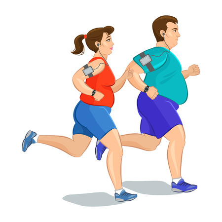 Illustration of a fat runners - couple running, health conscious concept. Sporty woman and man jogging  イラスト・ベクター素材