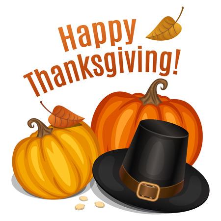 幸せな感謝祭のカード、ポスター、piligrim 帽子とオレンジ色のカボチャと背景。ベクトル図