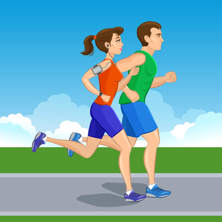 boy feet: Illustration of a runners - couple running, health conscious concept. Sporty woman and man jogging