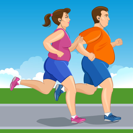 girls feet: Illustration of a fat runners - couple running, health conscious concept. Sporty woman and man jogging Illustration