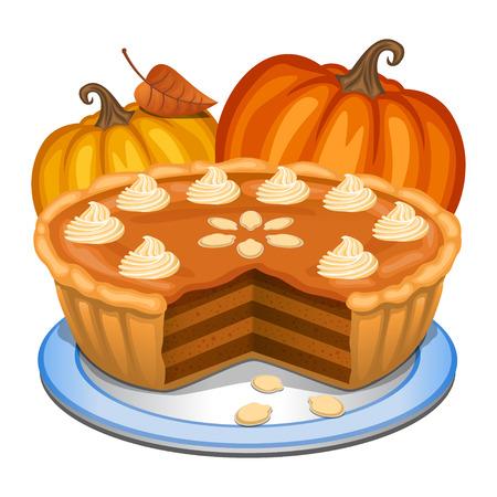 Pumpkin pie with white creme and orange pumpkin, pumpkin pie for Thanksgiving. Vector illustration