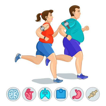 conscious: Illustration of a fat runners - couple running, health conscious concept. Sporty woman and man jogging Illustration