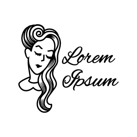 sexy women: Silhouette of a girl with beautiful vintage hairstyle. Logo for beauty salons