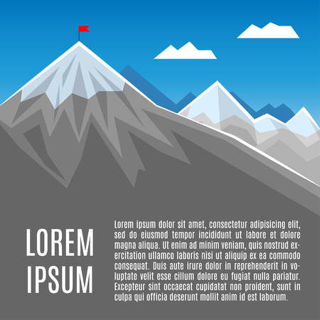 business competition: Flag on mountain peak, success or business concept illustration. Vector illustration Illustration