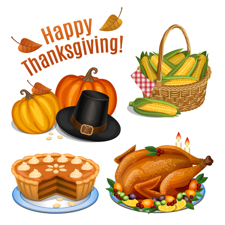 感謝祭のディナーのための漫画のアイコン セット、トルコ、パンプキン、パンプキンパイ、巡礼者の帽子、トウモロコシをローストします。ベクト