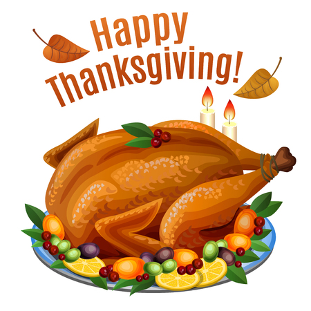 고명: Thanksgiving Turkey on platter with garnish, roast turkey dinner. Vector illustration