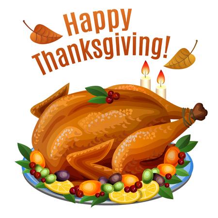 Thanksgiving Turkey on platter with garnish, roast turkey dinner. Vector illustration