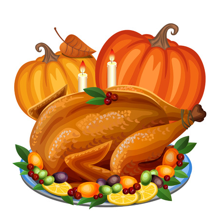 roast turkey: Thanksgiving Turkey on platter with garnish and orange pumpkin, roast turkey dinner. Vector illustration