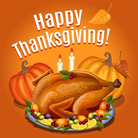 Thanksgiving Turkije op schotel met garnituur en oranje pompoen, gebraden kalkoen diner. vector illustratie
