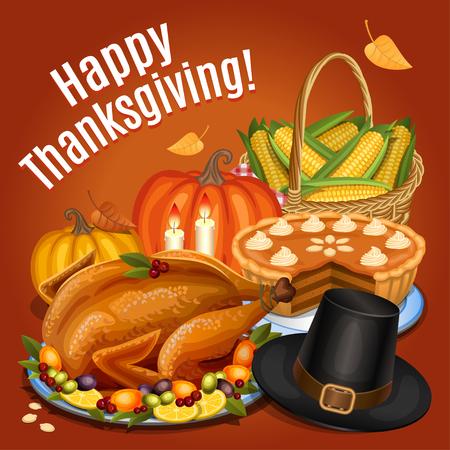 Thanksgiving dinner, roast turkey on platter with garnish, orange pumpkin, pumpkin pie, piligrim hat. Vector illustration