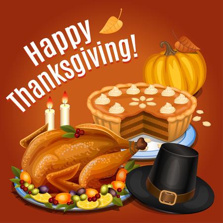 pavo: Acción de Gracias cena, pavo asado en un plato con guarnición, naranja calabaza, pastel de calabaza, sombrero Piligrim. Ilustración vectorial