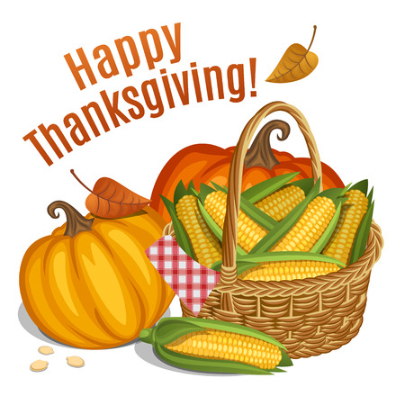 corn: Happy Thanksgiving card, poster, background with basket with corn and orange pumpkin. Vector illustration