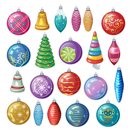 Set of vintage Christmas decorations, vector balls and toys