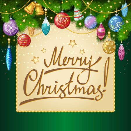 twigs: Christmas vector background with fir twigs, christmas greeting card, New Year background