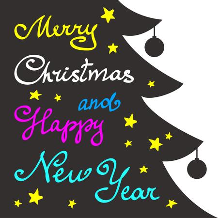 christmas tree illustration: Calligraphy lettering Christmas tree. Merry Christmas and Happy New Year lettering, vector illustration