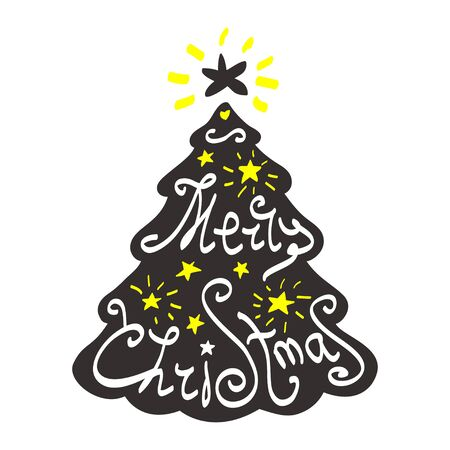 star ornament: Calligraphy lettering Christmas tree. Merry Christmas lettering, vector illustration