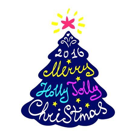 christmas tree illustration: Calligraphy lettering Christmas tree. Merry Christmas lettering, vector illustration