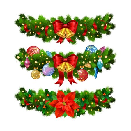 ornament frame: Christmas festive decoration from christmas tree branches, christmas star, holly and gold bells with red ribbon