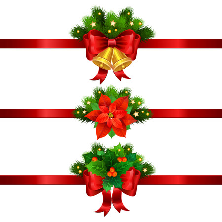 decoration: Christmas festive decoration from christmas tree branches, christmas star, holly and gold bells with red ribbon