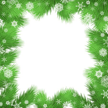 twigs: Christmas vector background with fir twigs, christmas tree branches border