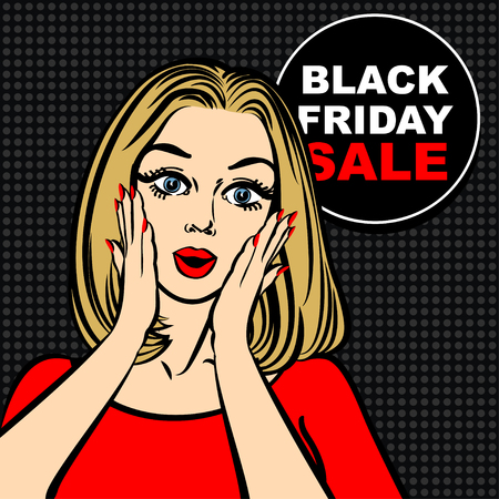 Black friday sale bubble and pop art astonished cute girl opening mouth