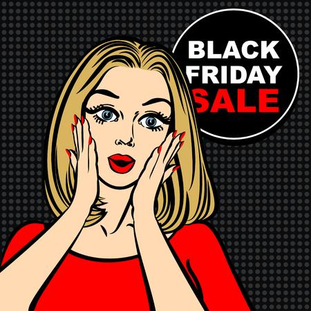 black girl: Black Friday Blase und Pop-Art erstaunt nettes M�dchen Er�ffnung Mund