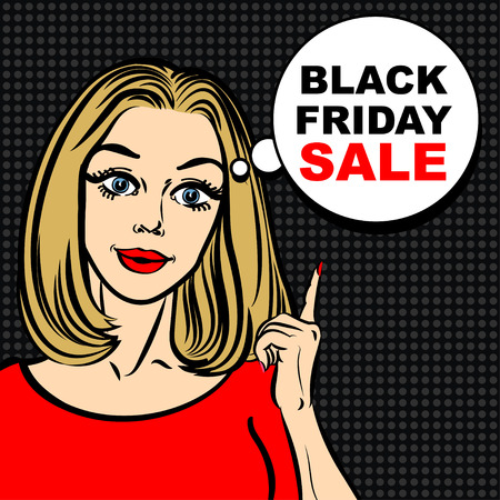 woman open mouth: Black friday sale bubble and pop art woman to point the finger Illustration