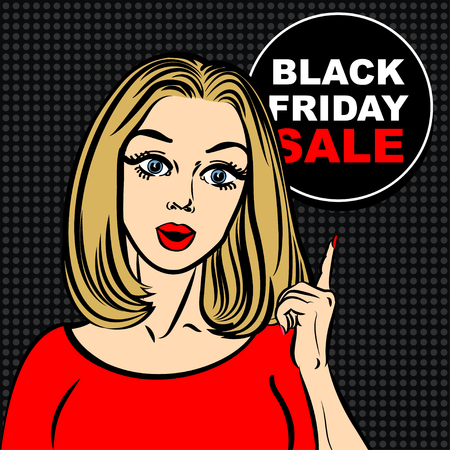 point of sale: Black friday sale bubble and pop art woman to point the finger Illustration