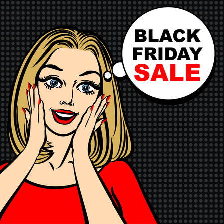 astonished: Black friday sale bubble and pop art astonished cute girl opening mouth