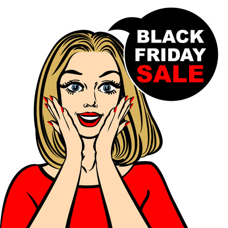open mouth: Black friday sale bubble and pop art astonished cute girl opening mouth