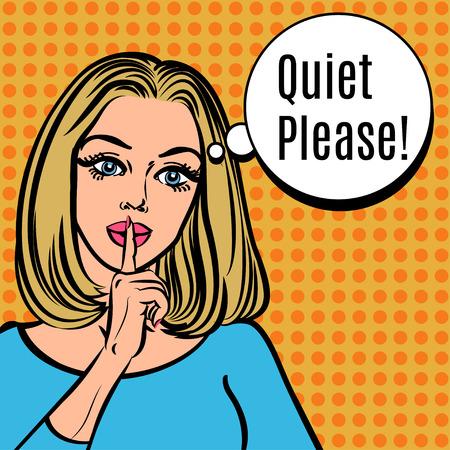 女の子の静かなご意見!沈黙サインを持ったベクトル レトロな女性、pop アート コミック スタイルの図。沈黙の静かな沈黙の唇に彼女の人差し指を置