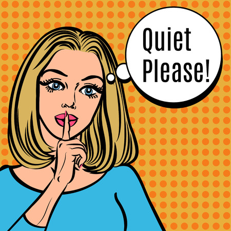 Girl says Quiet Please! Vector retro woman with silence sign, pop art comics style illustration. Girl asking for silence putting her forefinger to her lips for quiet silence Vettoriali