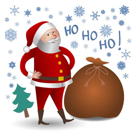oldman: Santa Claus with big bag. Christmas greeting card, background, poster
