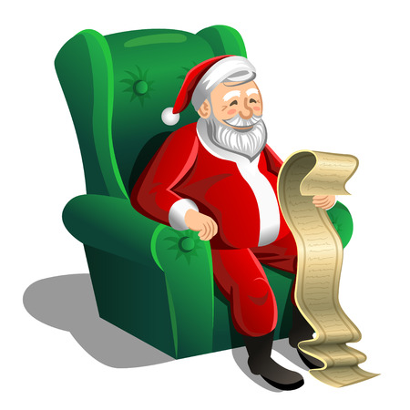 wish list: Santa Claus sitting in armchair and reading Christmas letter or wish list.  Christmas Scene