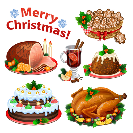 happy feast: Set of cartoon icons for Christmas dinner, traditional christmas food and desserts, roast Turkey, ham, Christmas pie, pudding, mulled wine. Vector illustration