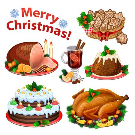 Zestaw ikon z kreskówek na świąteczny obiad, tradycyjne świąteczne potrawy i desery, pieczonego indyka, szynka, świąteczne ciasto, budyń, grzane wino. ilustracji wektorowych Ilustracje wektorowe