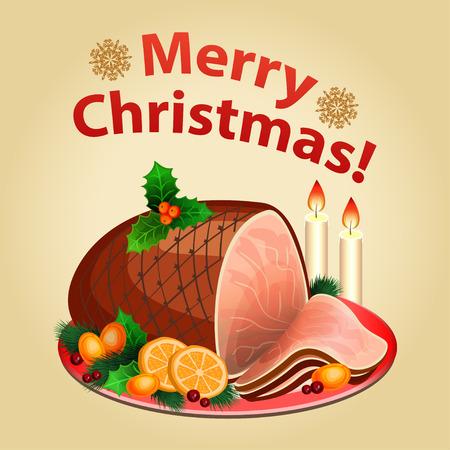 Christmas dinner, traditional christmas food-Christmas ham.   イラスト・ベクター素材
