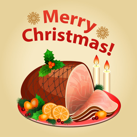 Christmas dinner, traditional christmas food-Christmas ham.  Illustration
