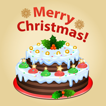 christmas cake: Christmas cake on platter with Christmas decorations, traditional christmas dessert.