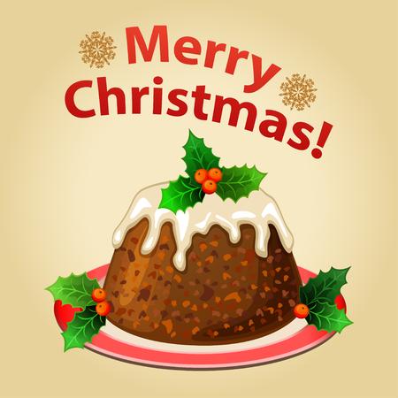 cake plate: Christmas homemade pudding with Christmas decorations, traditional christmas dessert.