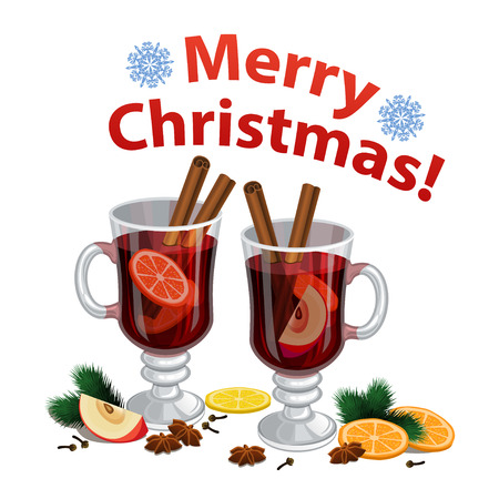 Christmas mulled wine with spices, orange slice, anise and cinnamon sticks, traditional christmas drink.