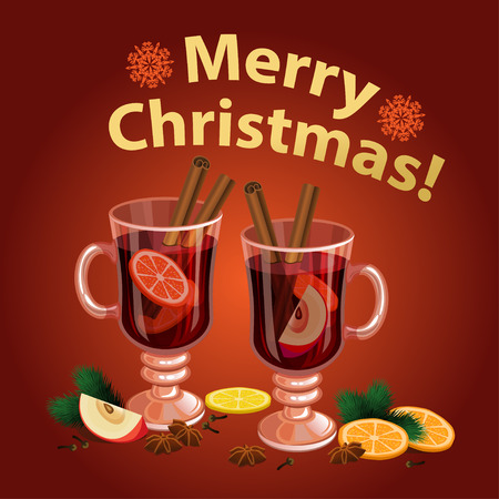 cinnamon sticks: Christmas mulled wine with spices, orange slice, anise and cinnamon sticks, traditional christmas drink. Vector illustration